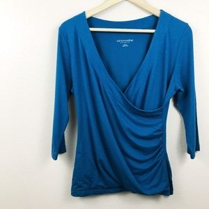 Soft Surroundings 3/4 Sleeve Teal Ruched Blouse